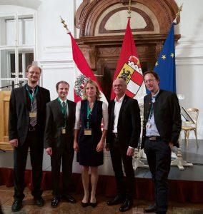 Stadt-Land-Empfang in der Residenz im Rahmen des ÖMG-DMV-Kongress; Prof. Dr. Andreas Schröder, Prof. Dr. Clemens Fuchs, Prof. Dr. Verena Bögelein, Landeshauptmann-Stv. Dr. Christian Stöckl, Prof. Dr. Arne Bathke